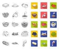 Dessert geurig overzicht, vlakke pictogrammen in vastgestelde inzameling voor ontwerp Voedsel en de voorraadweb van het zoetheids stock illustratie