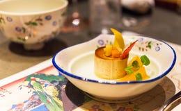 Dessert giapponese in un piatto, Tokyo, Giappone Con il fuoco selettivo immagine stock libera da diritti