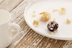 Dessert gone - pastry crumbs Stock Photos