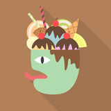 Dessert On The Head Of The Hungry Man Artwork - Vector Stock Images