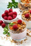 Dessert with homemade granola, fresh raspberries. Fruit and natural yoghurt, top view Stock Photography