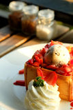 Dessert honey toast with ice cream and strawberry for romantic sweet time in valentine`s day Stock Photos