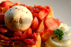 Dessert honey toast with ice cream and strawberry for romantic sweet time in valentine`s day Royalty Free Stock Photos