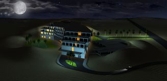 Dessert Hotel Night Rendering Stock Photo