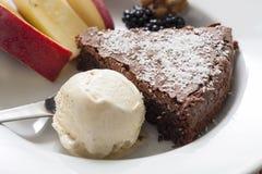 Dessert of ice cream and chocolate cake Royalty Free Stock Image