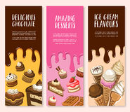 Dessert, ice cream and chocolate pastry banner set. Cake, cupcake, strawberry pie, ice cream cone, fruit cream dessert, brownie, muffin, cheesecake and belgian vector illustration