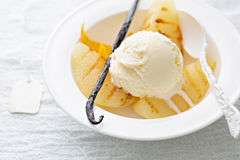 Dessert with ice cream and grilled pears Stock Images
