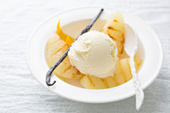 Dessert with ice cream and grilled pears Stock Image