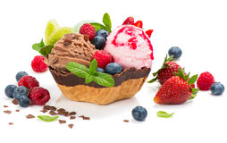Dessert of  ice cream in a wafer bowl Royalty Free Stock Images