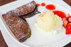 Dessert. Icecream with chocolate pancake&strawberry Stock Images