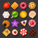 Dessert icon set. On black background stock illustration