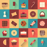 Dessert icon set. Collection of tasty sweets Stock Images