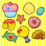 Dessert Icon. A set of dessert icon including cup cake, candy, cookies, lolly pod and hopefully it is suitable for bakery packaging and games for little girls Stock Photos
