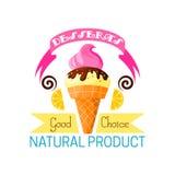 Dessert icon of vanilla ice cream and lemon Royalty Free Stock Images