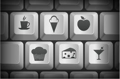 Dessert Icons on Computer Keyboard Buttons Stock Photos