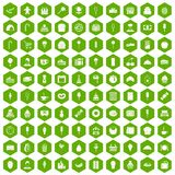 100 dessert icons hexagon green Royalty Free Stock Image