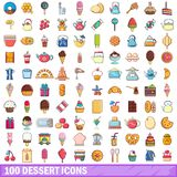 100 dessert icons set, cartoon style. 100 dessert icons set. Cartoon illustration of 100 dessert vector icons isolated on white background stock illustration