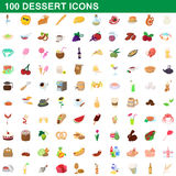 100 dessert icons set, cartoon style. 100 dessert icons set in cartoon style for any design vector illustration Stock Photo