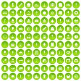 100 dessert icons set green circle. Isolated on white background vector illustration Stock Photos