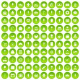 100 dessert icons set green. 100 dessert icons set in green circle isolated on white vectr illustration Royalty Free Illustration
