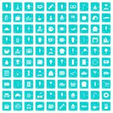 100 dessert icons set grunge blue. 100 dessert icons set in grunge style blue color isolated on white background vector illustration Royalty Free Stock Image