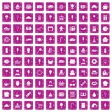 100 dessert icons set grunge pink. 100 dessert icons set in grunge style pink color isolated on white background vector illustration Stock Photo