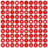 100 dessert icons set red. 100 dessert icons set in red circle isolated on white vector illustration Stock Photos