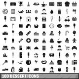 100 dessert icons set, simple style Royalty Free Stock Images