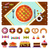 Dessert icons set with table. Table with pie, knife and fork, tablecloths or napkins top view. Dessert icons set. Cup with coffee or tea, donuts, cake, cookie Stock Image