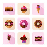 Dessert icons set. Vector flat style icons of sweets and candies products. Dessert icons set. Donut with glaze, cake, ice cream, muffin with cherry. Different Royalty Free Stock Photo