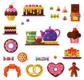 Dessert icons set. Vector flat style icons of tea party and sweets products. Dessert icons set Stock Images