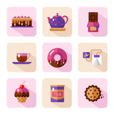 Dessert icons set. Vector flat style icons of tea party and sweets products. Dessert icons set. Cup, teapot, tea can, tea bag, donut, chocolate, cake, cookie Royalty Free Stock Photo
