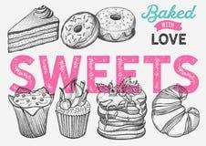 Dessert illustration - cake, donut, croissant, cupcake, muffin for bakery vector illustration