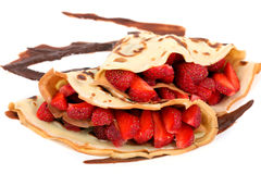 Dessert: isolated pancakes with strawberry and chocolate Royalty Free Stock Images