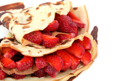 Dessert: isolated pancakes with strawberry stock images