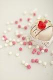 Dessert italiano di cassata con le palle dello zucchero Fotografia Stock