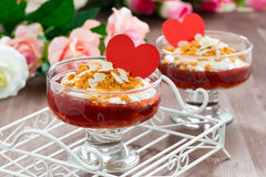 Dessert with jam and whipped cream for Valentine's Day Royalty Free Stock Images