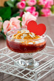 Dessert with jam and whipped cream for Valentine's Day, vertical Stock Photography