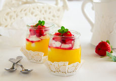 Dessert in a jar with lemon cream, Stock Image
