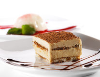 Dessert - Kaastaart Tiramisu royalty-vrije stock fotografie