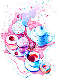 Dessert. Kettle with tea cups, cakes and sweets Royalty Free Stock Photography