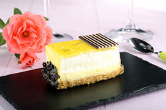 Dessert lemon cake  on black stone Stock Image