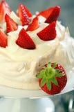 Dessert with lemon cream and ripe strawberries. Stock Images