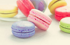 Dessert Macaroon. Colorful with Vintage Royalty Free Stock Photos