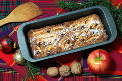 Dessert made with apples and raisins. Homemade dessert with apples and raisins Stock Images