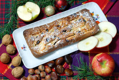 Dessert made with apples and raisins. Homemade dessert with apples and raisins Stock Photo