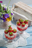 Dessert made with fresh strawberries and cream Royalty Free Stock Photos