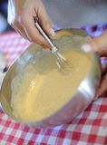 Dessert making. The making of a dessert topping with sugar and eggs Royalty Free Stock Photography