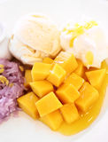 Dessert mango and ice-cream. Its feeling vivid Royalty Free Stock Images