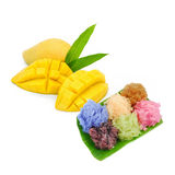 DESSERT mango with rice stick and coconut milk for summer season. In Thailand Royalty Free Stock Photography